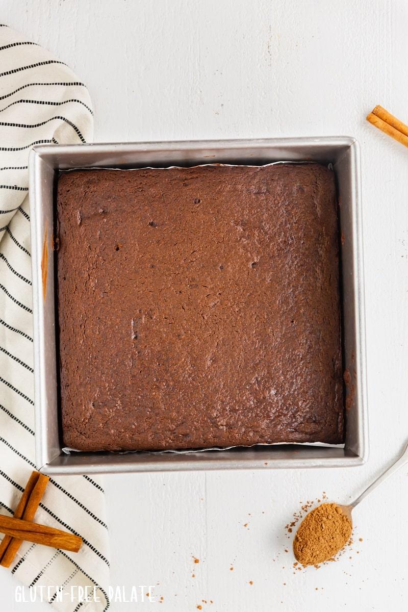 gluten free gingerbread bars in a baking pan
