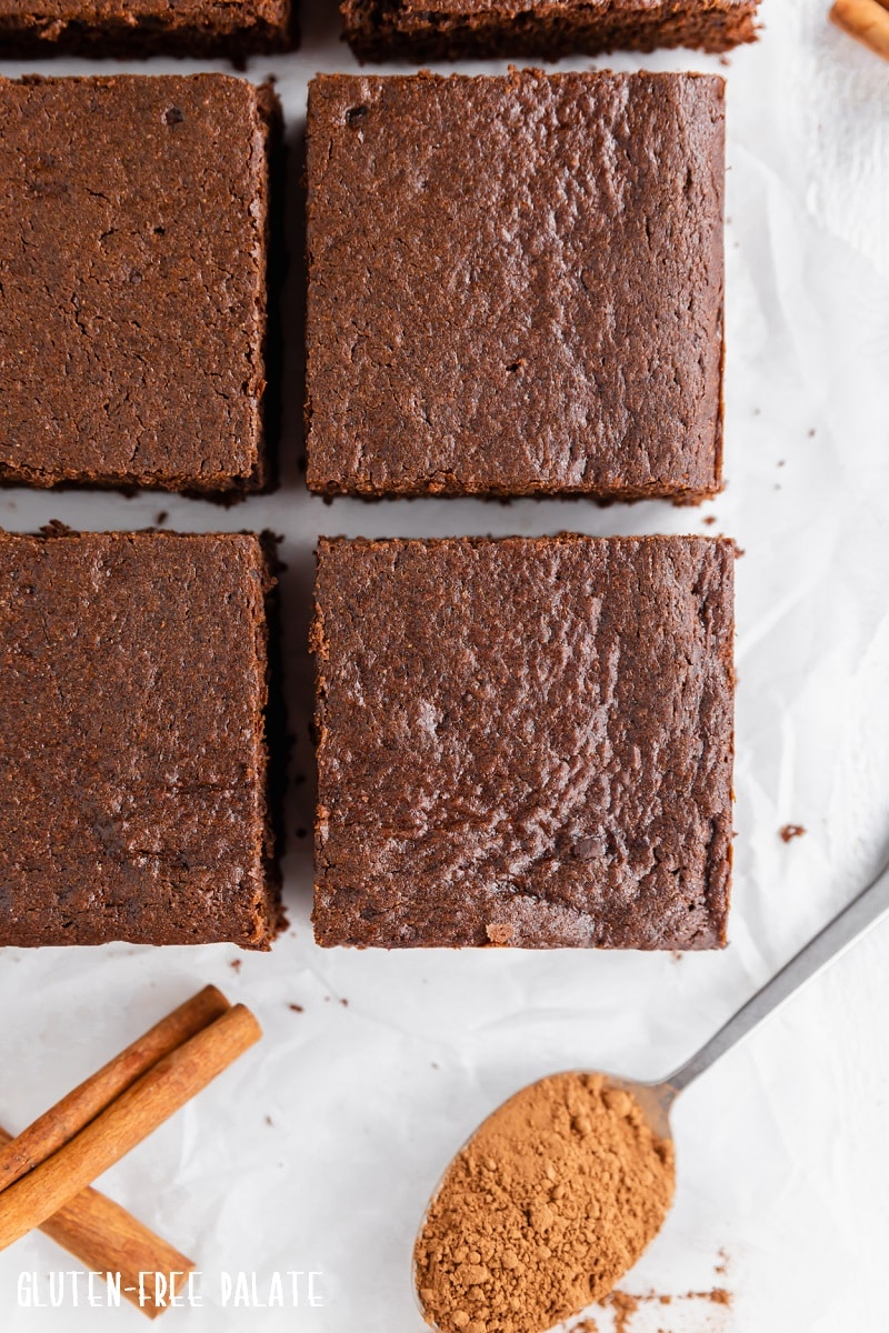 top down view of gingerbread cut into bars