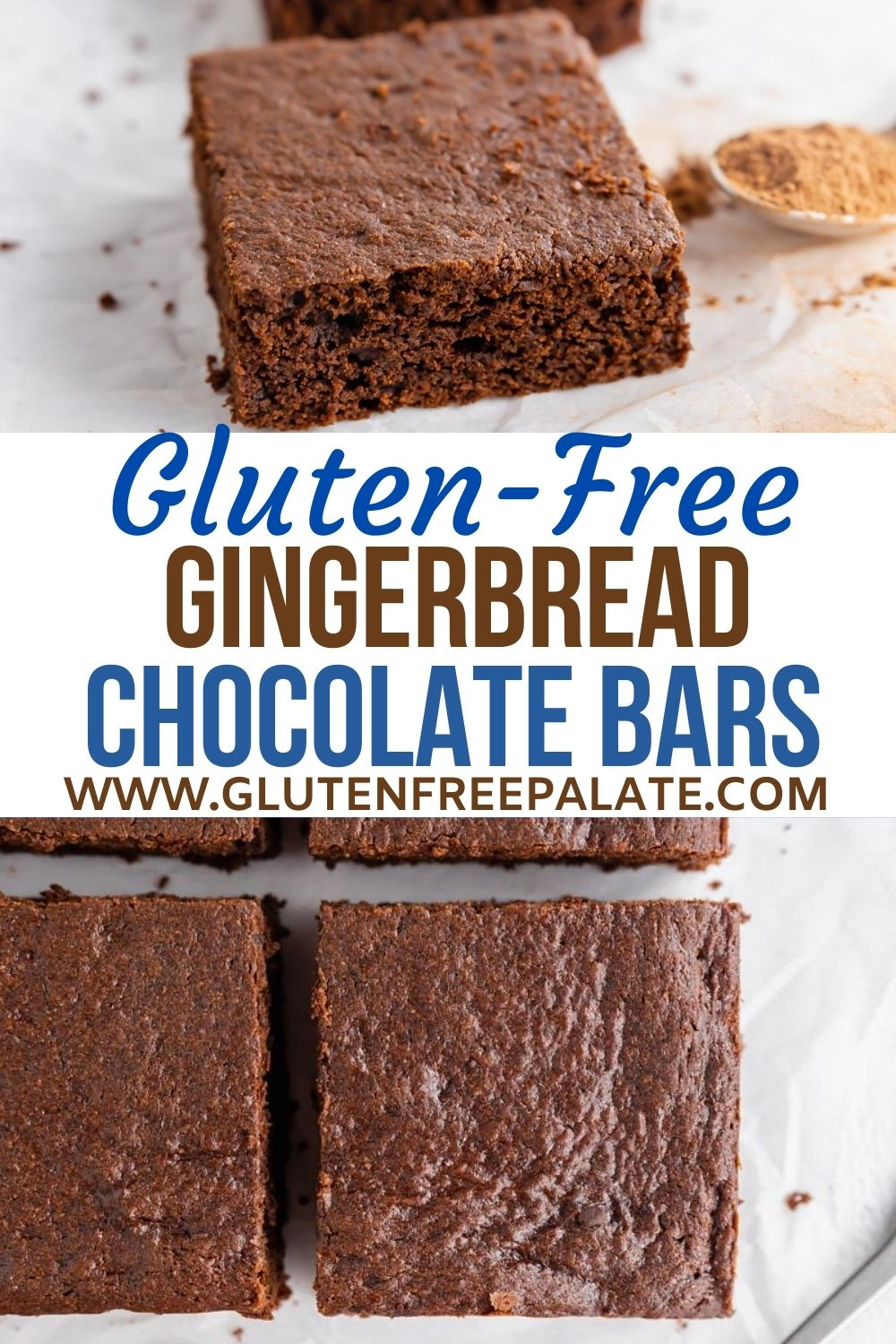 pinterest pin collage for gluten free gingerbread bars