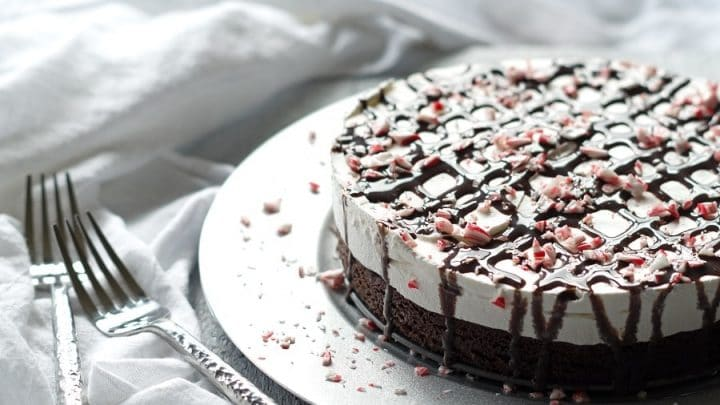 a close up of a side view of a brownie ice cream cake topped with chocolate sauce and crushed candy cane pieces