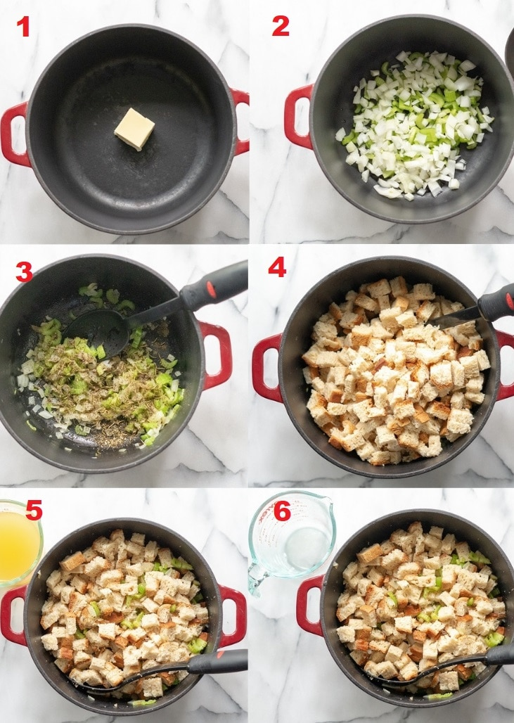 A collage of step photos showing how to make gluten-free stuffing.