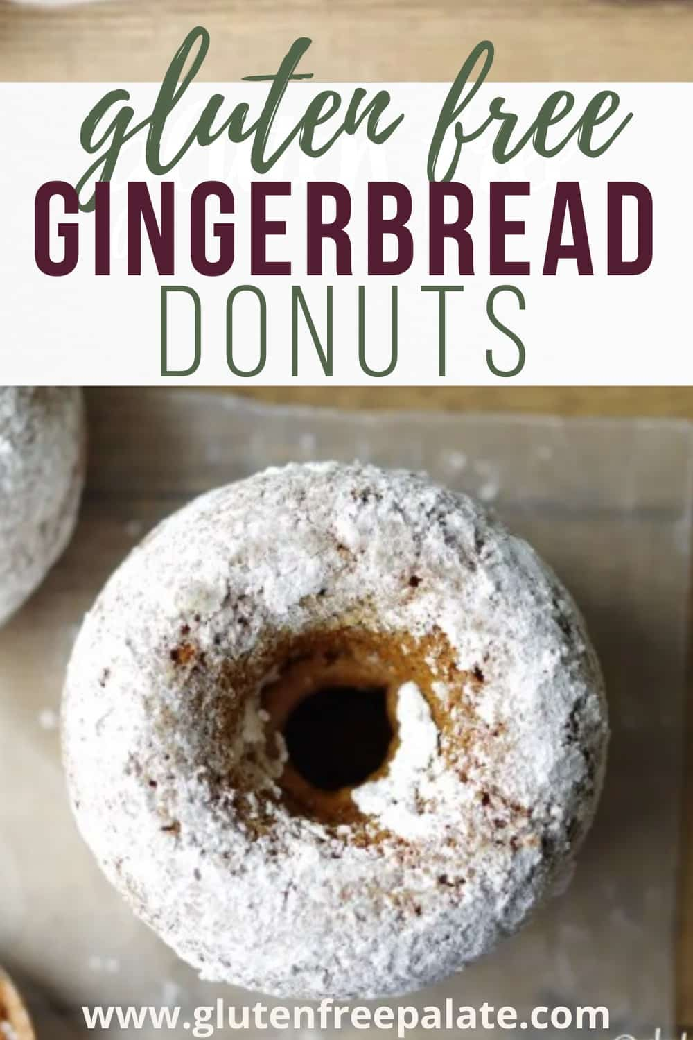 pinterest pin for gluten free gingerbread donuts