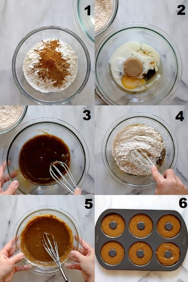 a collage of six photos showing how to make gluten free gingerbread donuts