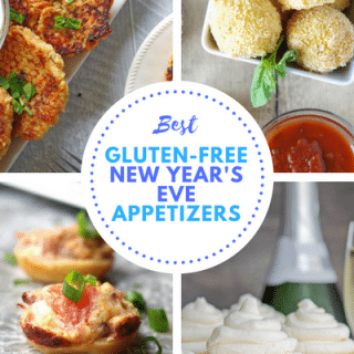 a collage of four images of appetizers with the words best gluten free new year's eve appetizers in the center