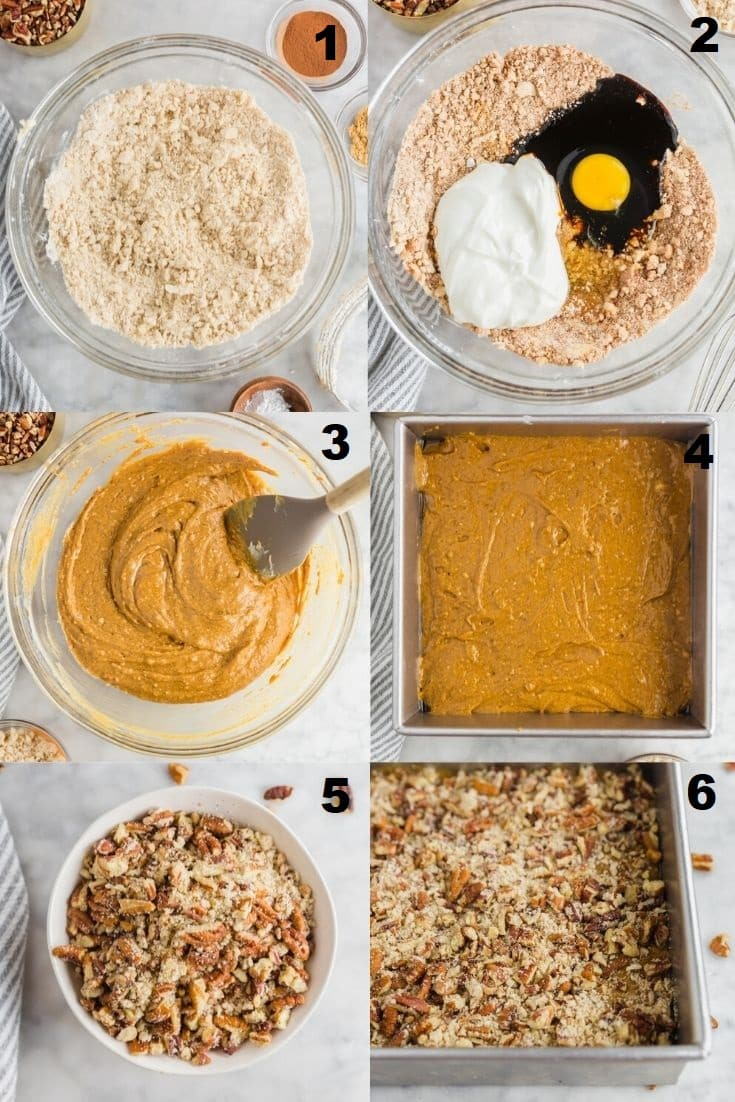 a collage of six photos showing the steps how to make gingerbread coffee cake