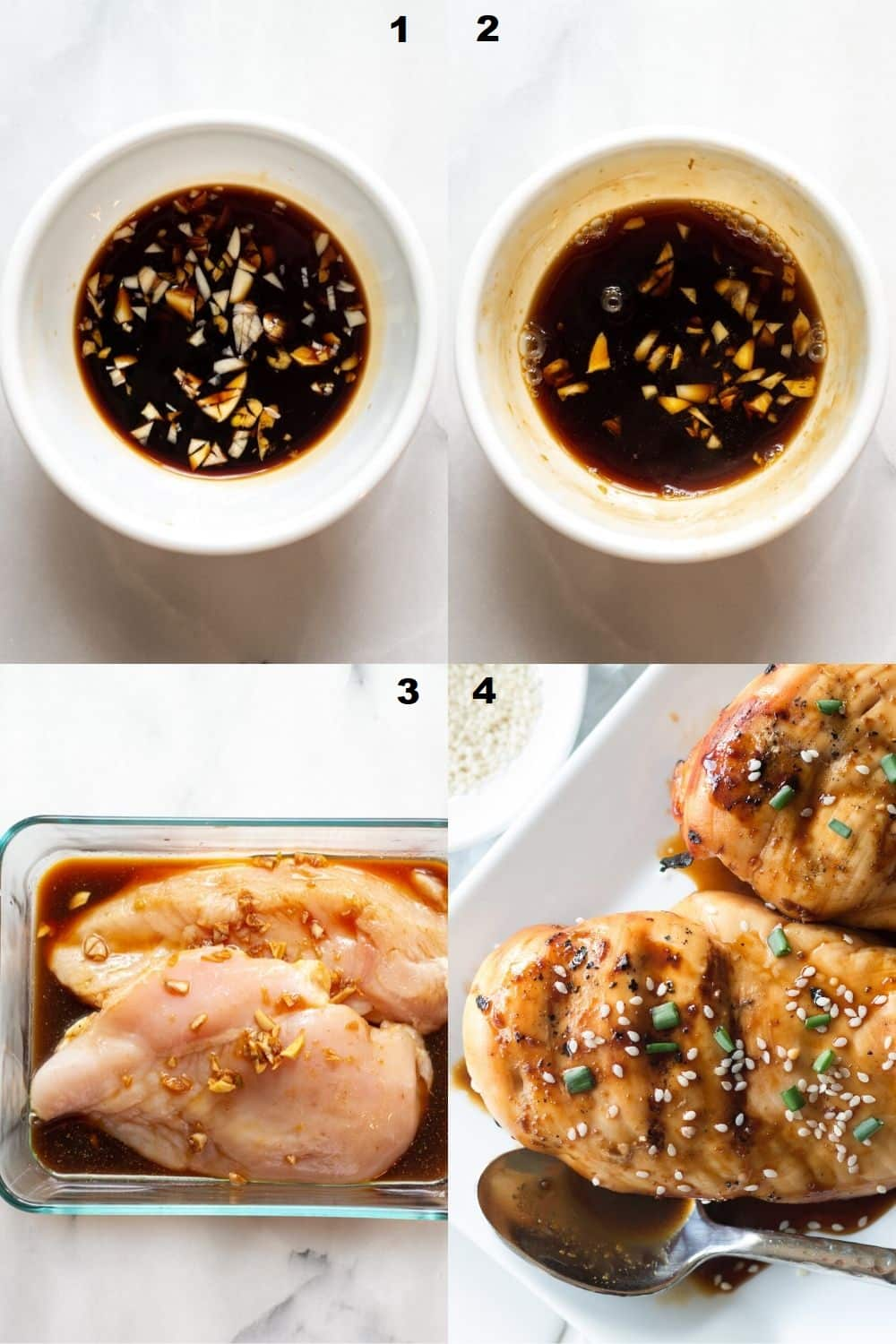 a collage of four images showing the steps on how to make hawaiian chicken