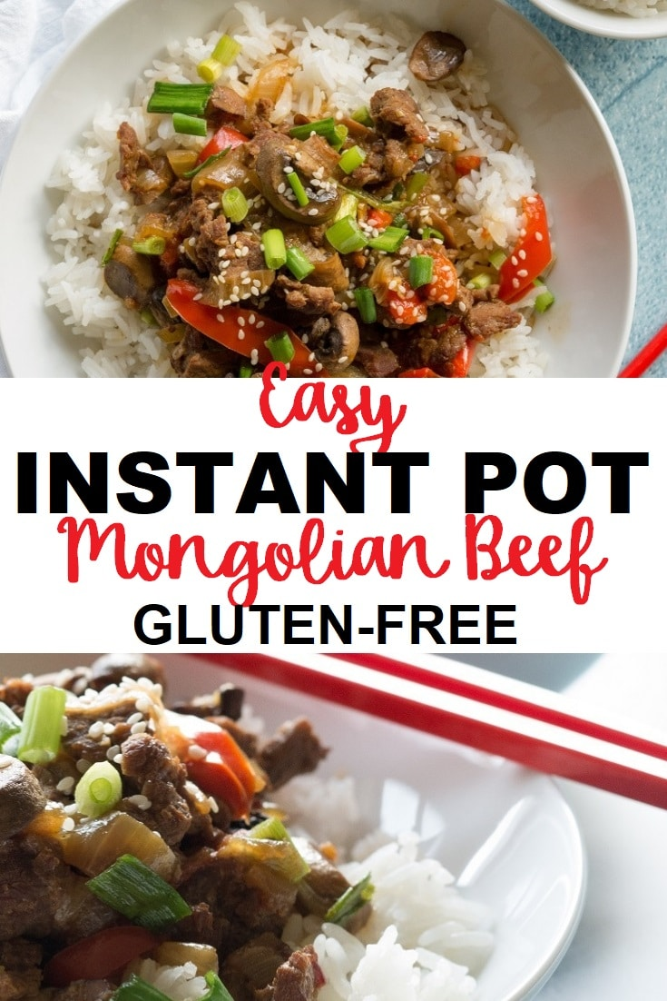 a pinterest pin collage of two photos of mongolian beef over rice with the words easy instant pot mongolian beef gluten free in the center