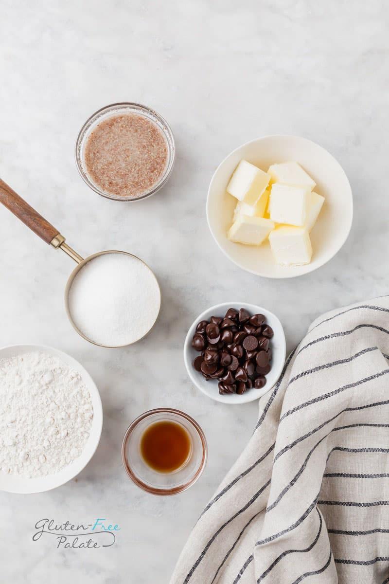 top down view of ingredients in vegan gluten free brownies