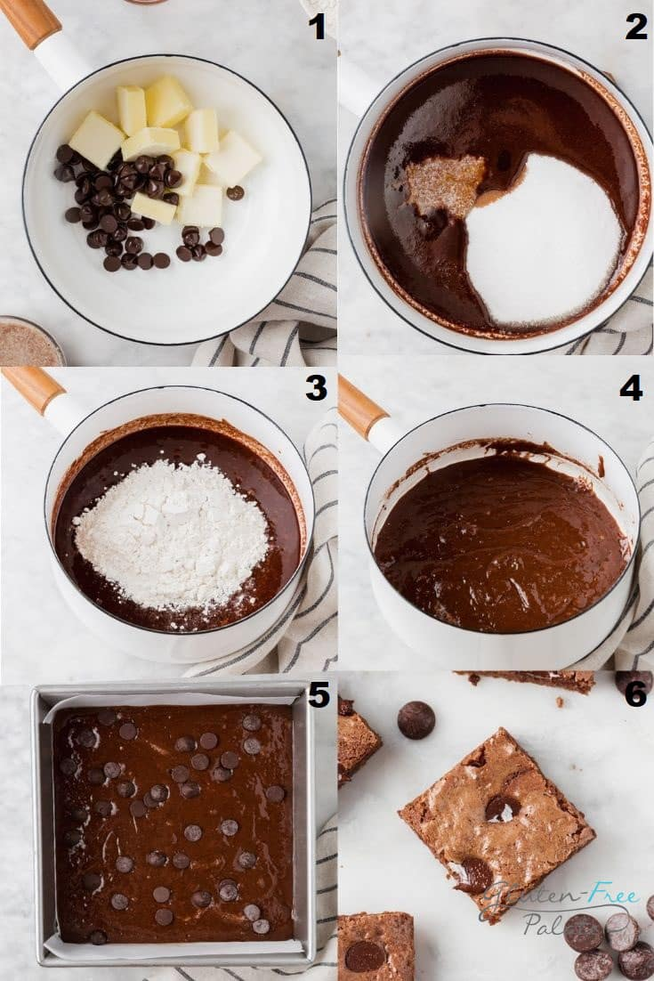 a collage of six photos showing how to make vegan gluten free brownies