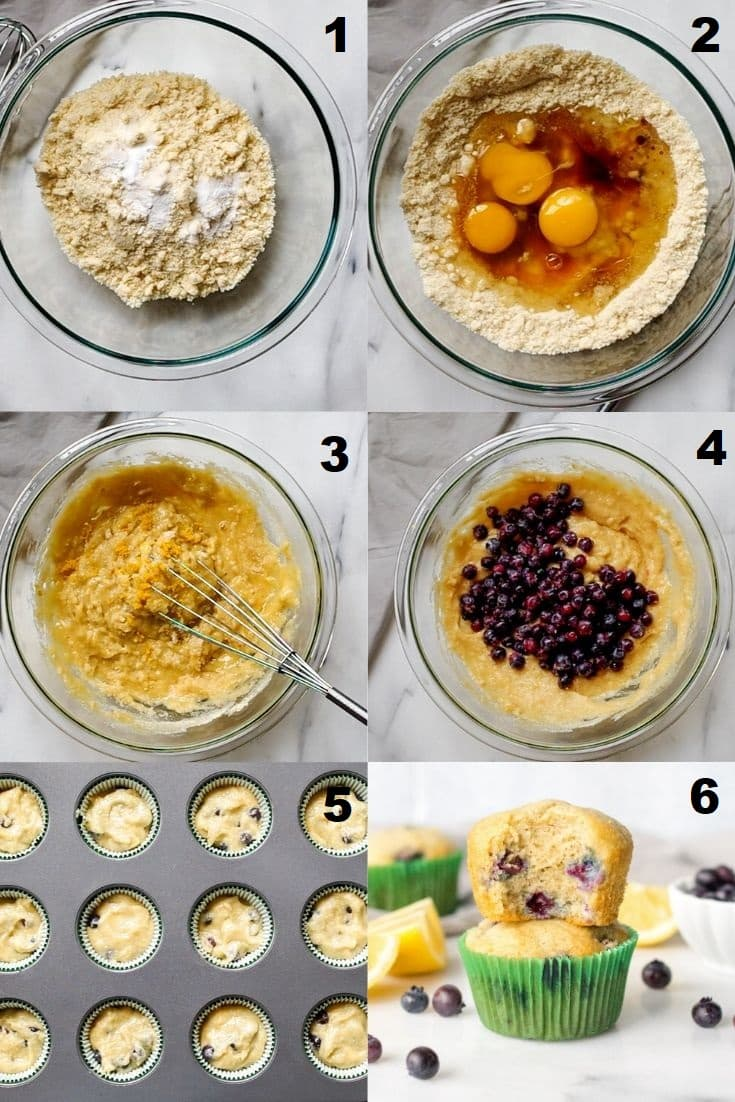 a collage of six photos showing how to make Paleo Blueberry Muffins