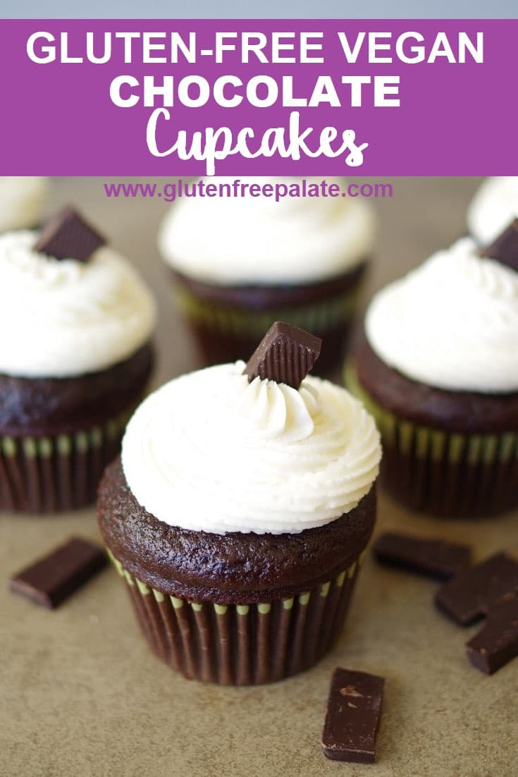 a pinterest pin of chocolate cupcakes with white buttercream frosting with the words gluten free vegan chocolate cupcakes on top
