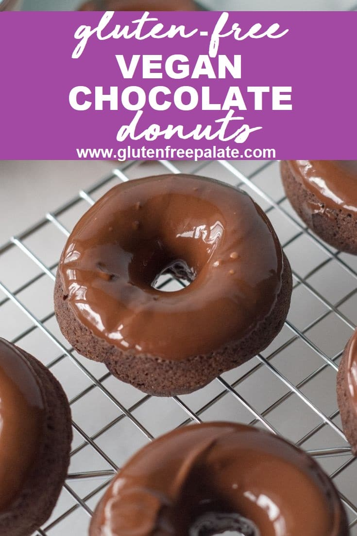 close up of a chocolate donut with a chocolate glaze on a wire rack with the words gluten free vegan chocolate donuts written on top