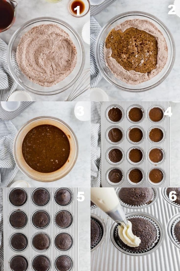 a collage of six photos showing how to make gluten free vegan chocolate cupcakes