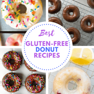 a pinterest pin collage of four different donut types with the words best gluten free donut recipes in the center
