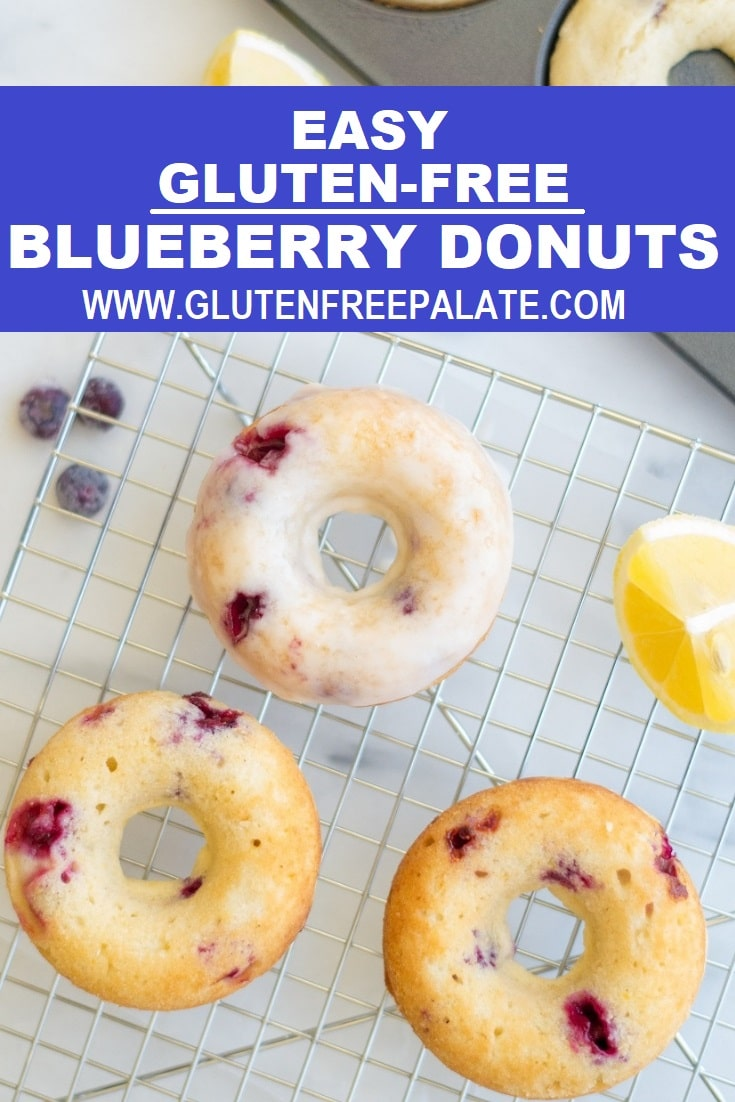 blueberry donuts topped with a white glaze on a wire rack with the words easy gluten-free blueberry donuts at the top