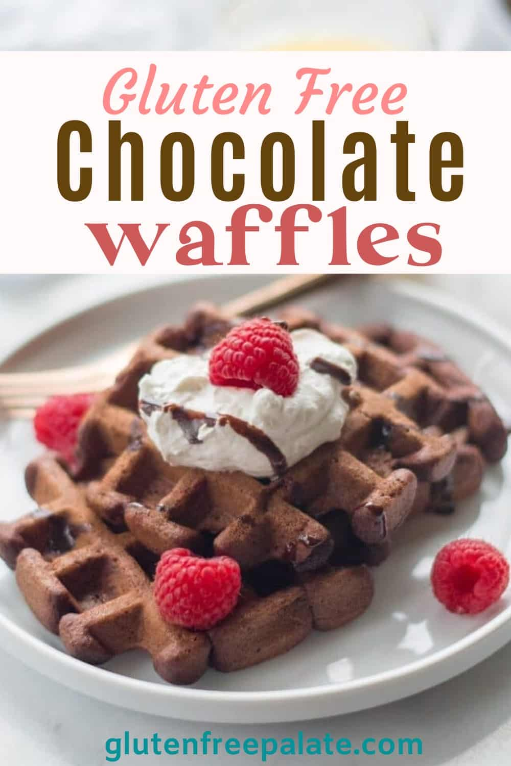 pinterest pin for gluten free chocolate waffles