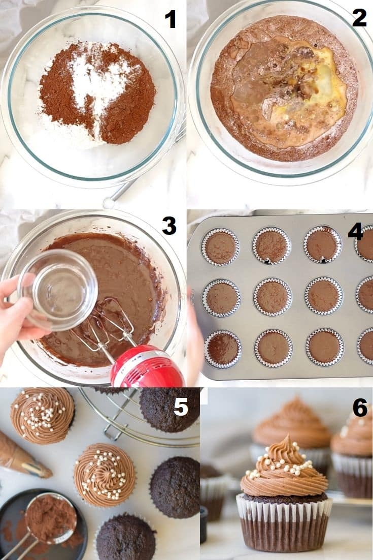a collage of six photos showing how to make gluten free chocolate cupcakes