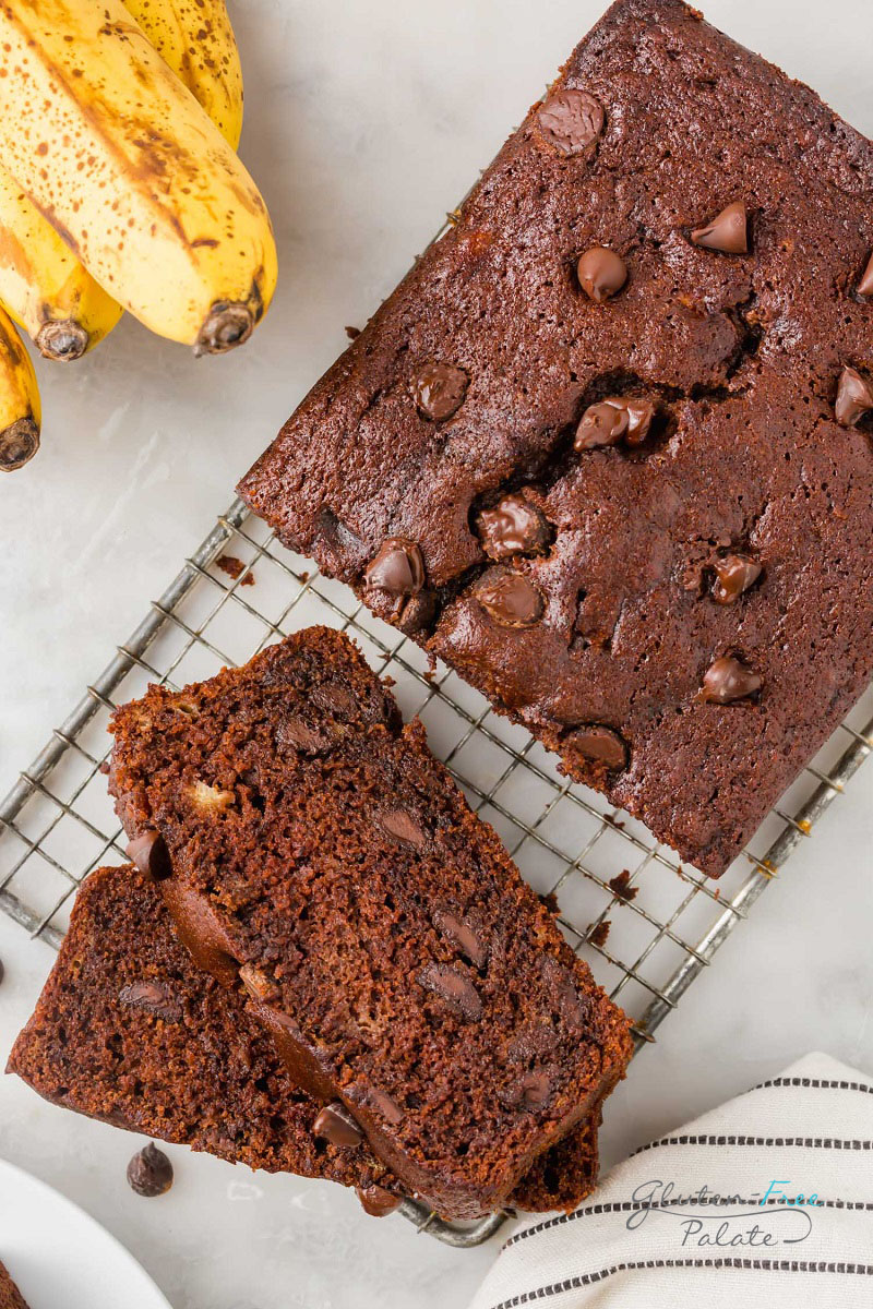 top down view of gluten free chocolate banana bread