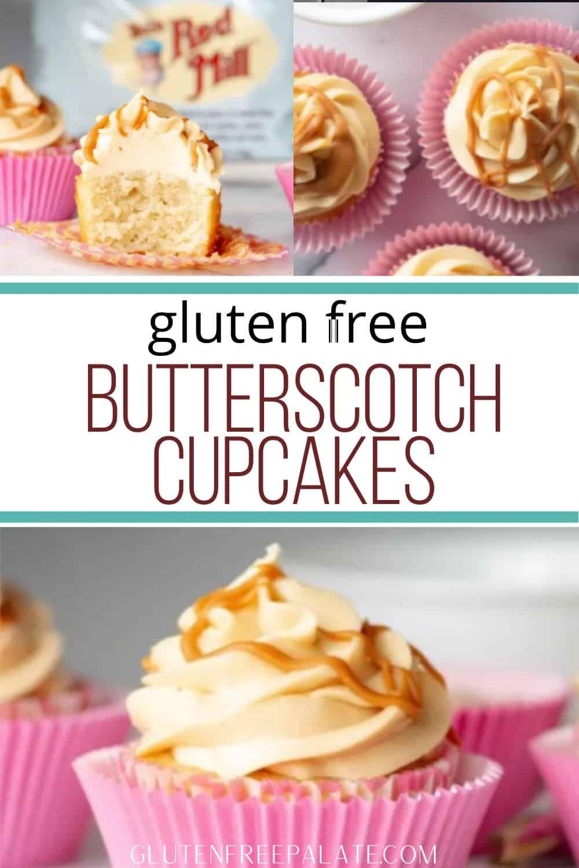 pinterest pin for butterscotch cupcakes