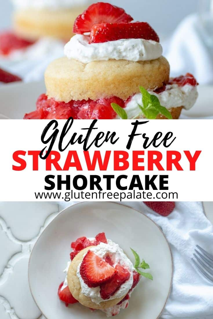 pinterest pin for gluten free strawberry shortcakes