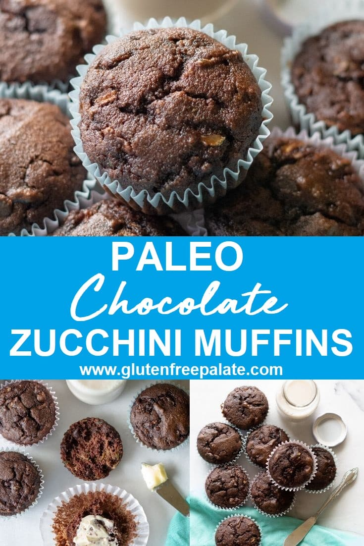 Pinterest Collage using three photos of muffins at different angles with the words paleo chocolate zucchini muffins written in the middle
