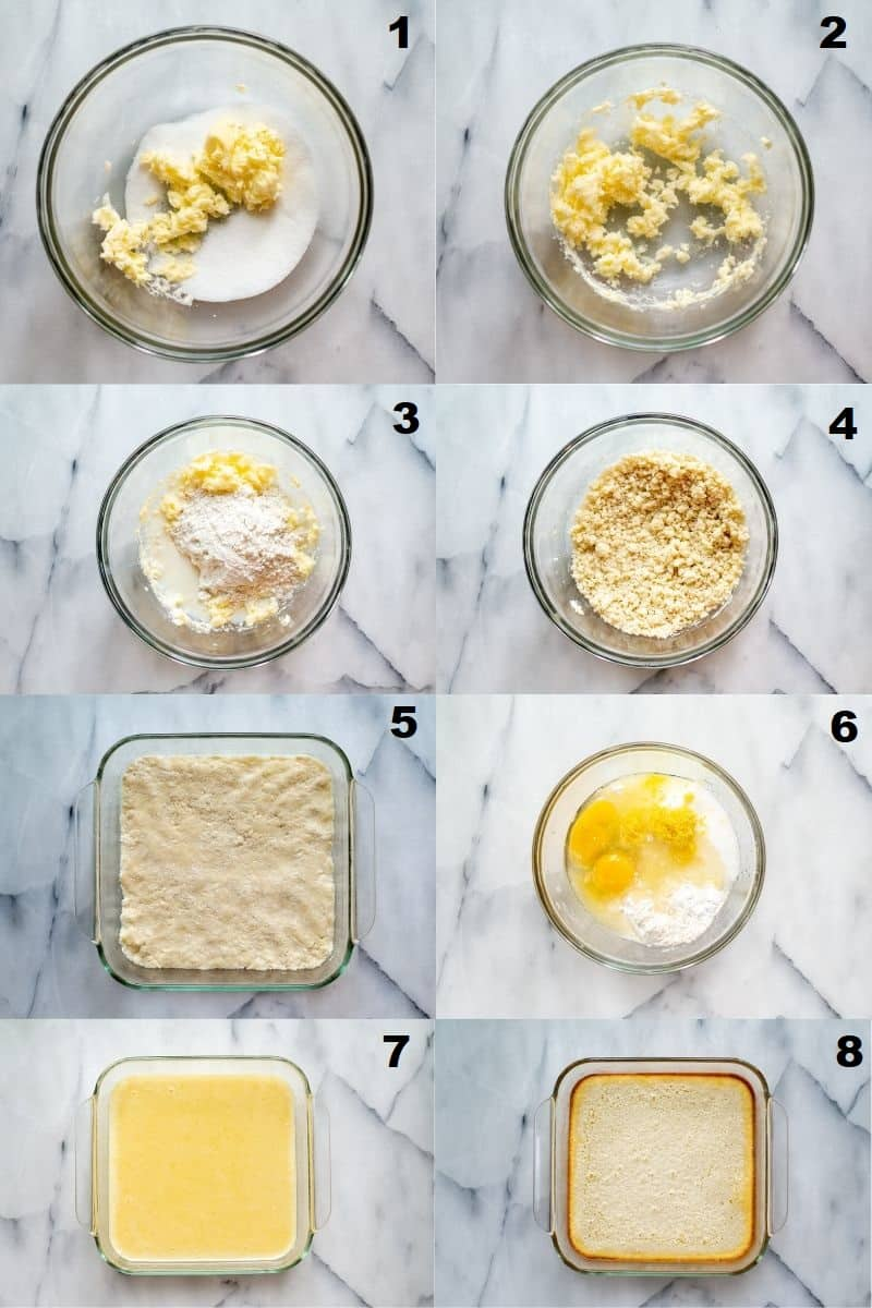 a collage of eight photos showing how to make gluten free lemon bars