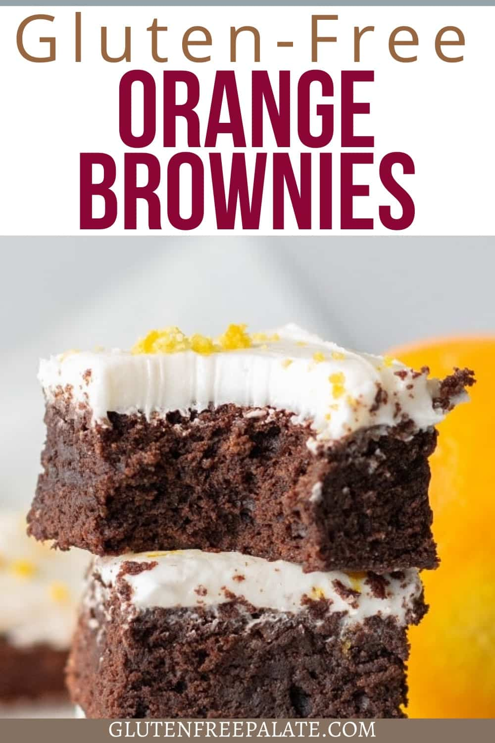 pinterest pin for gluten free orange brownies