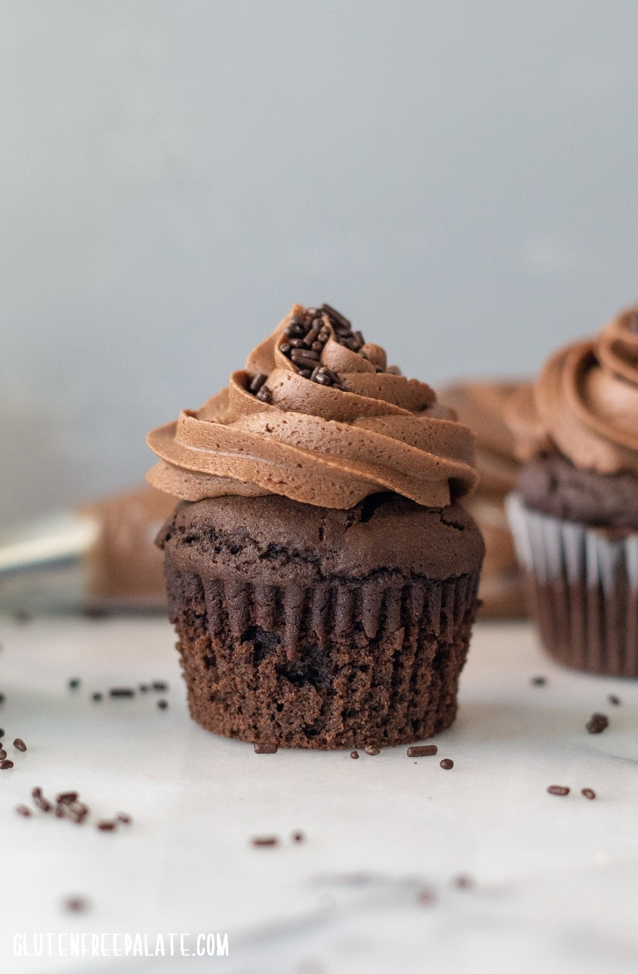 a side view of chocolate cupcakes topped with chocolate frosting