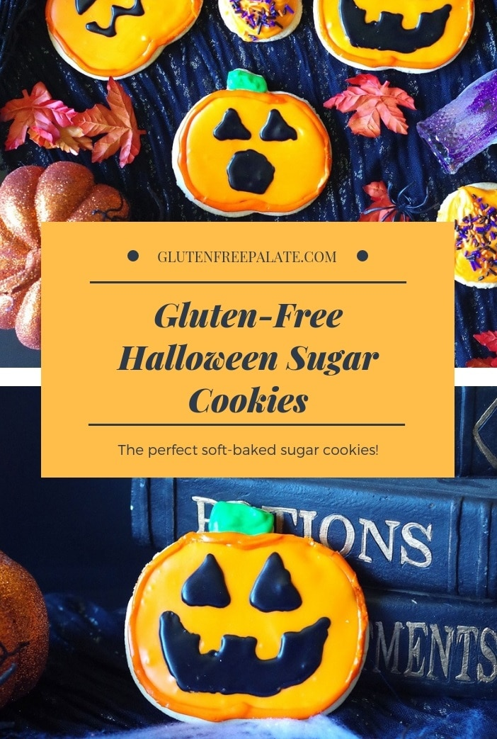 a pinterest pin collage of gluten-free sugar cookies decorated like pumpkins for Halloween