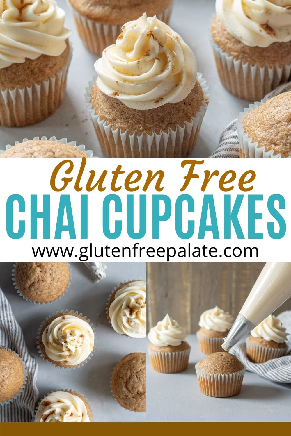 pinterest pin for gluten free chai cupcakes
