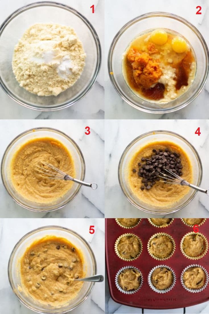 a collage of six photos showing the steps on how to make paleo pumpkin muffins
