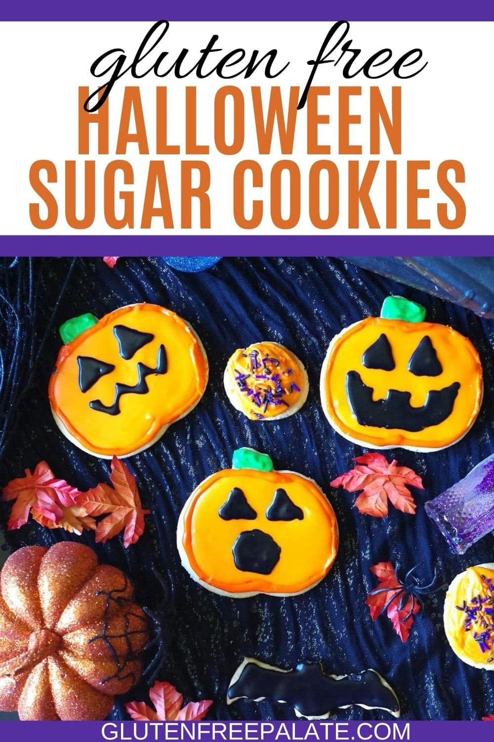 a pinterest pin collage for gluten free Halloween sugar cookies