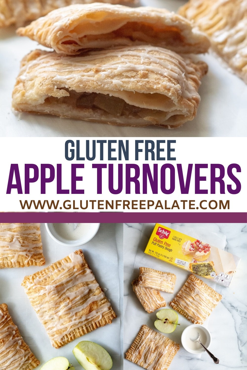 pinterest pin for gluten free apple turnovers