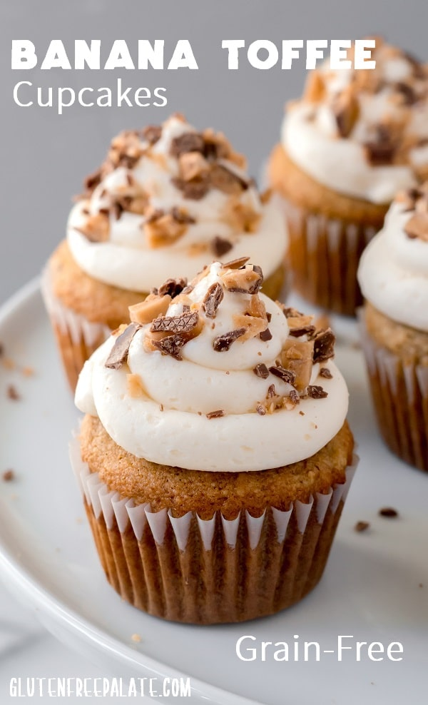 a pinterest pin image of cupcakes with white frosting with the words banana toffee cupcakes written on top
