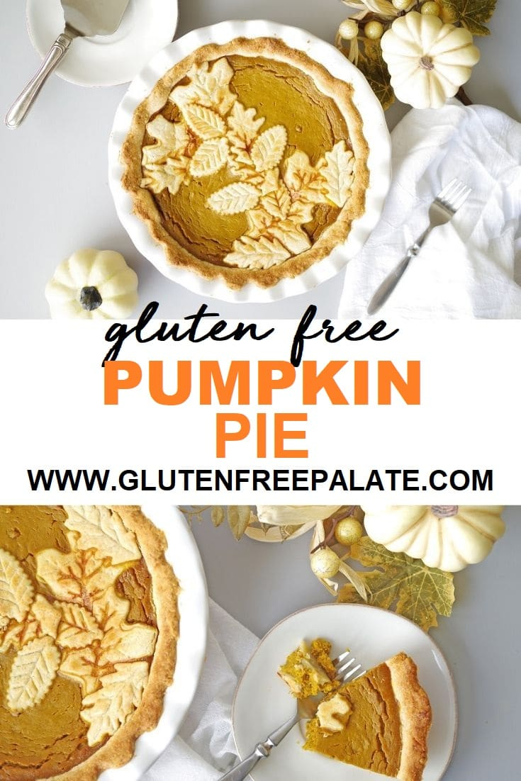 a pinterest pin with two photos of pumpkin pie with the words gluten free pumpkin pie in the center