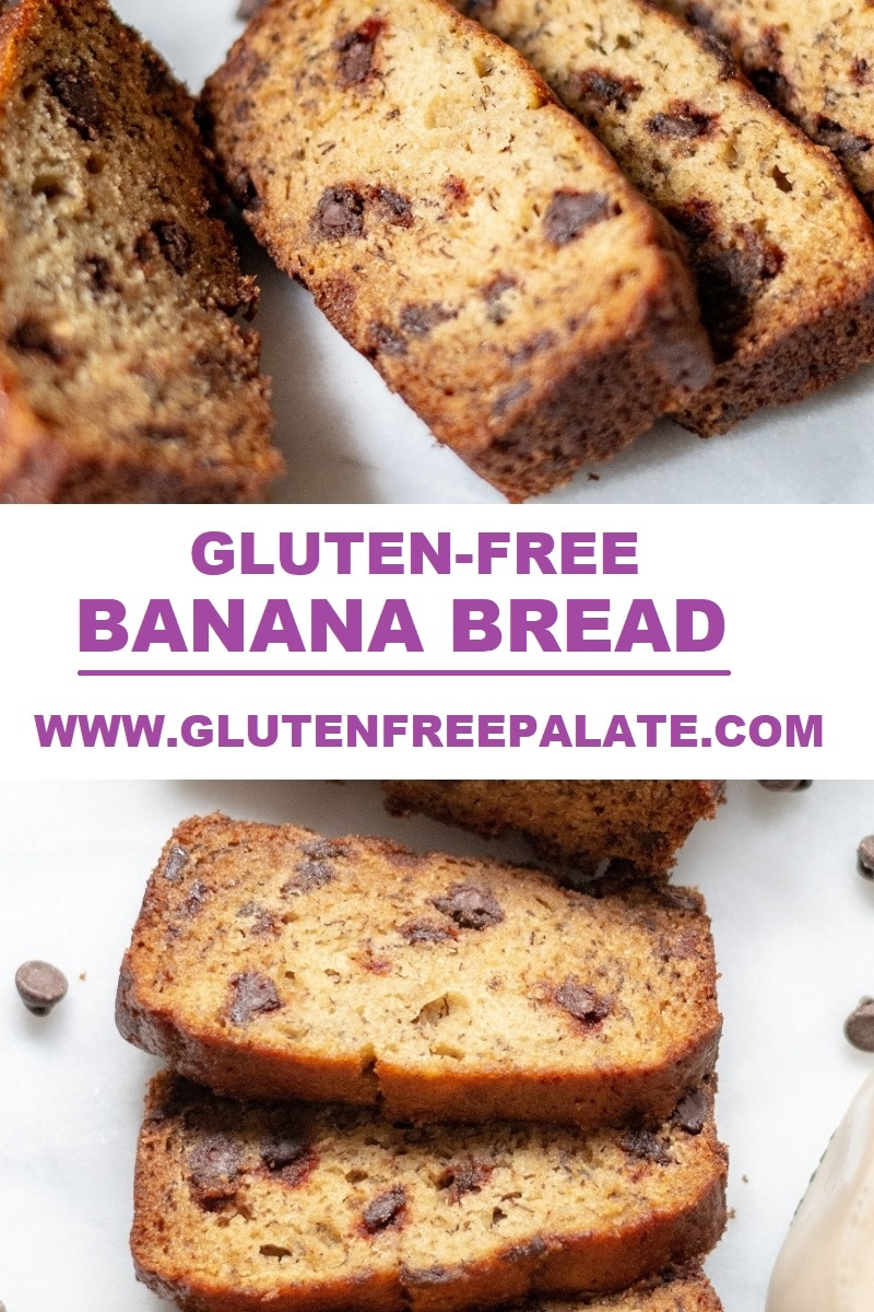 a collage photos with slices of gluten free banana bread with the words gluten free banana bread and www.glutenfreepalate.com in the center of the photo