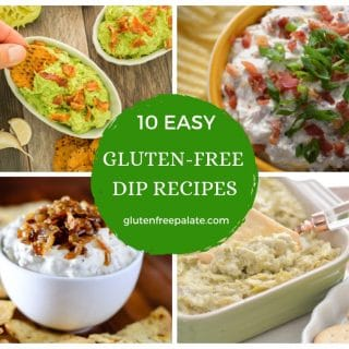 a collage of four images of gluten free dips with 10 easy gluten-free dip recipes written in the center