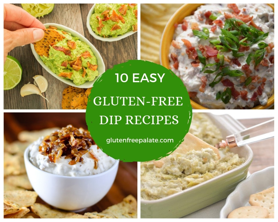 a collage of four images of dips with 10 easy gluten-free dip recipes typed in the center