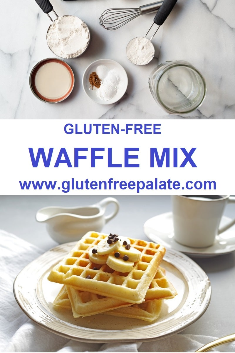 pinterest pin collage of two photos, one of waffles the other of the ingredients to make waffles with the words gluten free waffle mix in the center