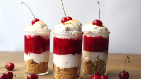 layered cherry pie dessert shots