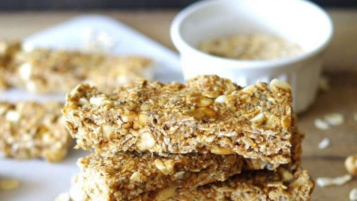 side view of stacked cashew granola bars