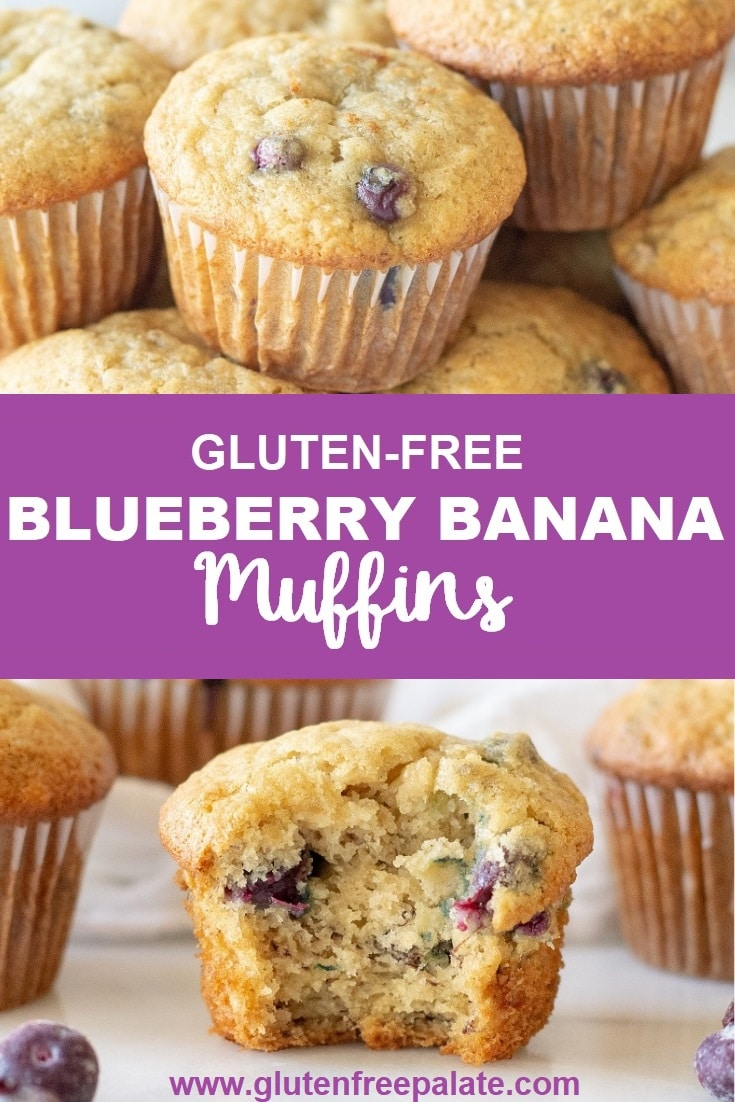 a collage of two photos, one with muffin on top of other muffins, the other is a muffin with a bite out, with the words gluten free blueberry banana muffins in text in the center