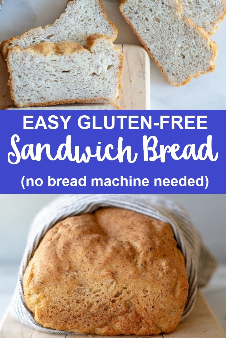 a collage photo of slices of gluten free bread on top, and a loaf of brown bread on the bottom with the words east gluten free sandwich bread in text in the center of the image