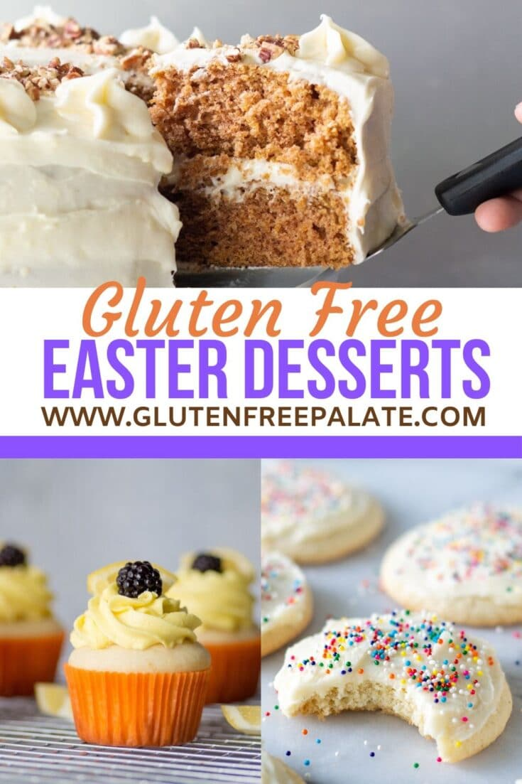 collage of three photos, a slice of carrot cake, a lemon cupcake, and a sugar cookie with the words gluten free easter dessert recipe in text in the center