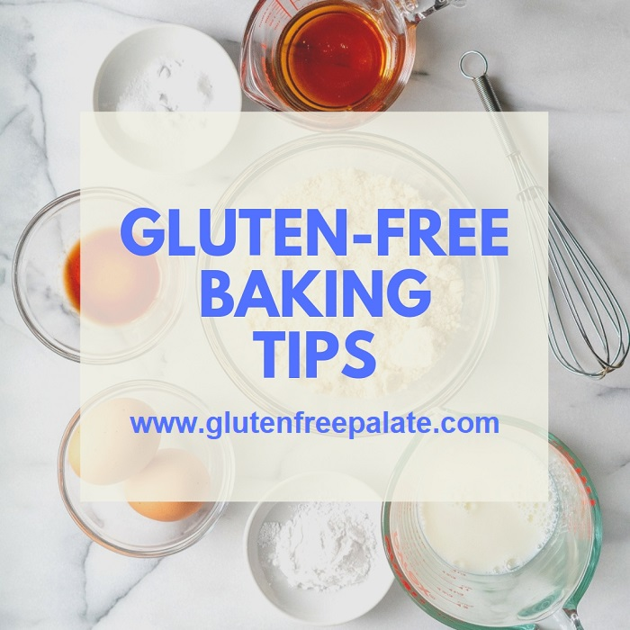 Words gluten-free baking tips over bowls of ingredients