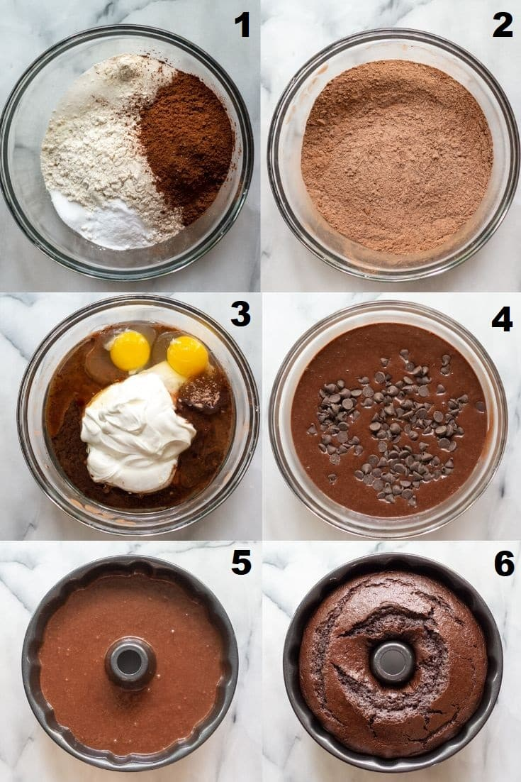 a collage of six photos showing the steps how to make a gluten free chocolate bundt cake