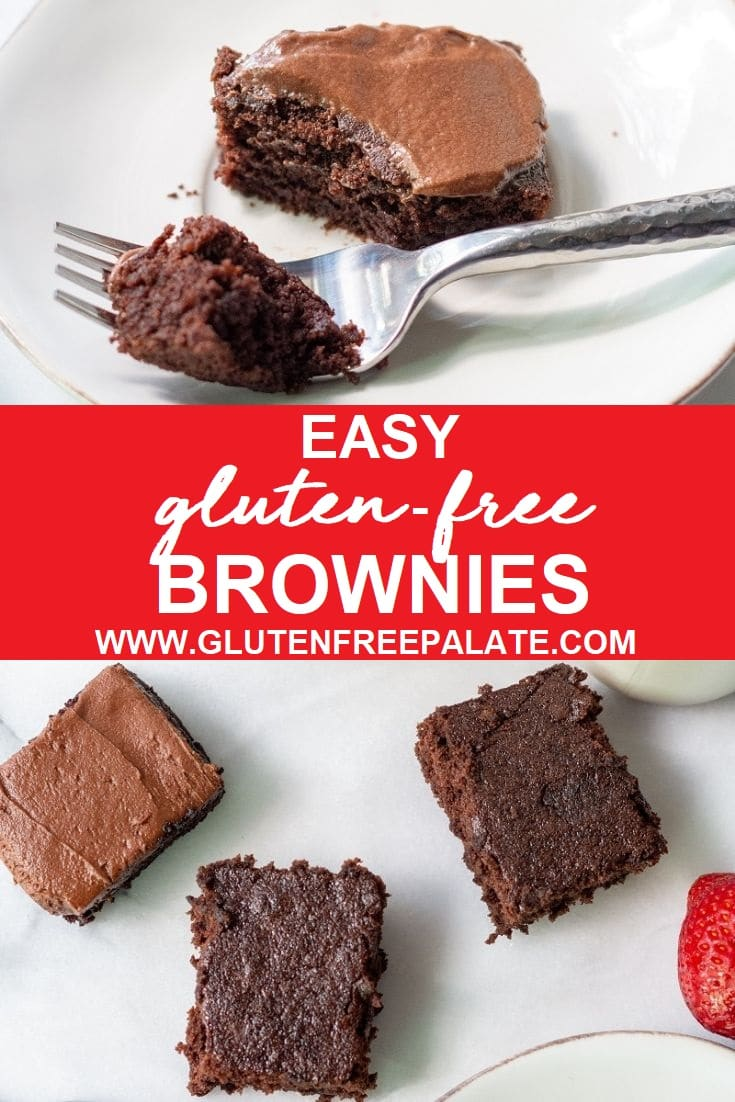 a collage photo with gluten free brownies topped with chocolate frosting on a white plate with a fork taking a bite out on top, the words easy gluten free brownies in the center, and a top down view of three brownies on the bottom