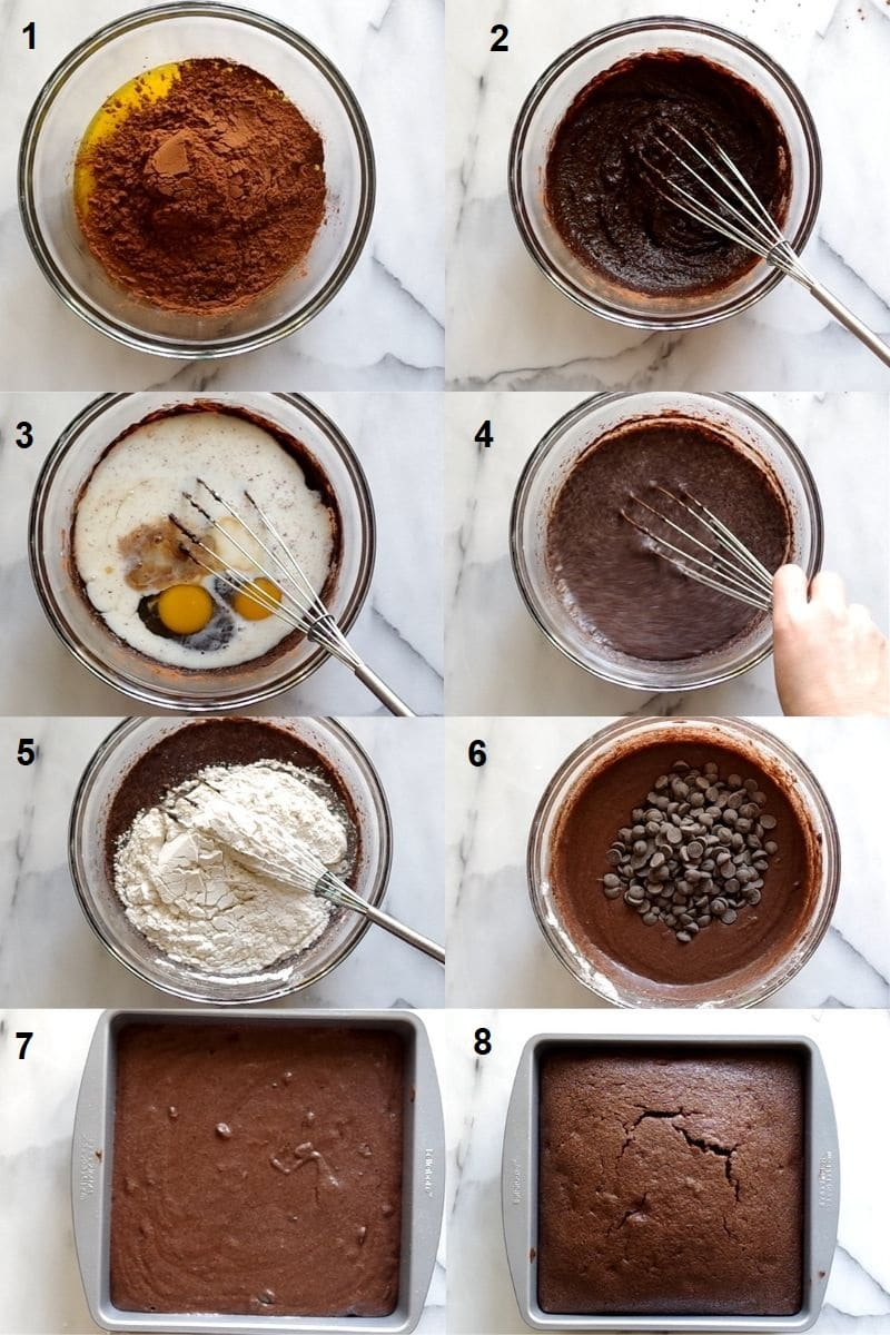 a collage of eight numbered photos showing how to make gluten free brownies
