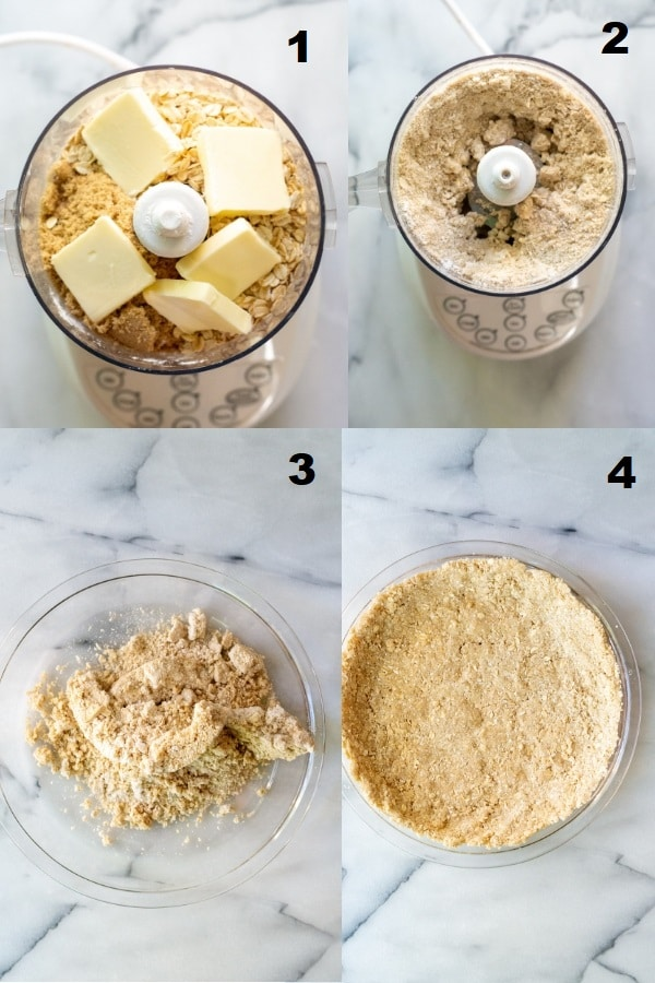 collage of four numbered images showing how to make graham cracker crust, the numbered photos match the numbered steps below