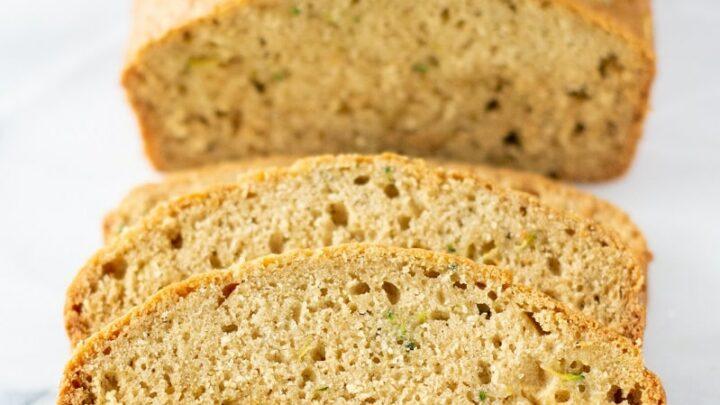 gluten free zucchini bread slices on a white plate